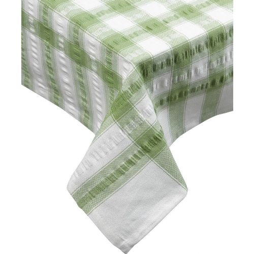 Sage Green Seersucker Checked Tablecloth 100 % Cotton
